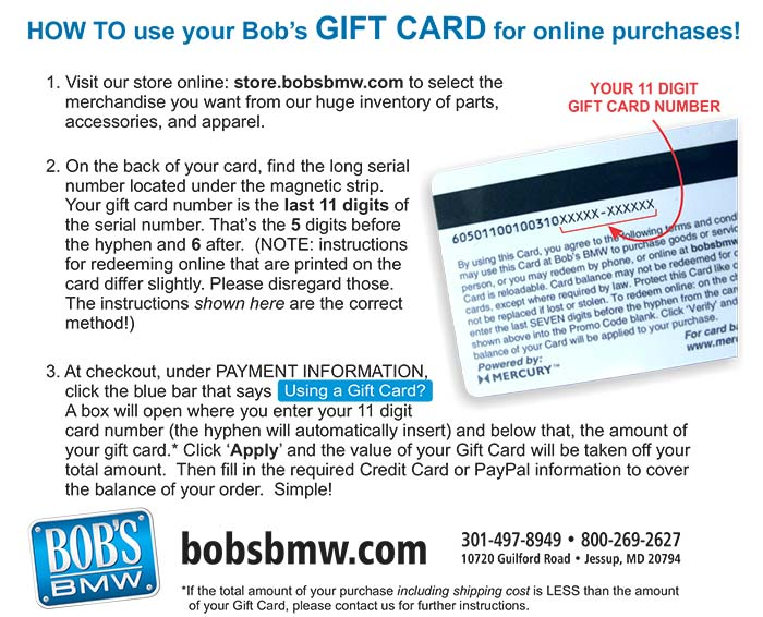 Gift Card at Bob's BMW