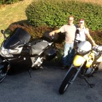 Melinda with her 2003 F650GS  and Blake with his 2007 / K1200GT