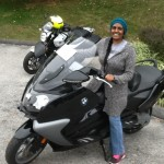 Jerusha with her 2015 BMW C650GT.