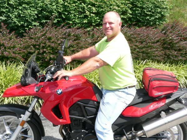 John Ridgon with his 2009 BMW F650GS.