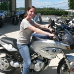Shannon Eagan with her 2003 BMW F650CS.