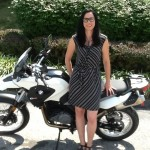 Katy Clark and her new 2014 BMW G650GS