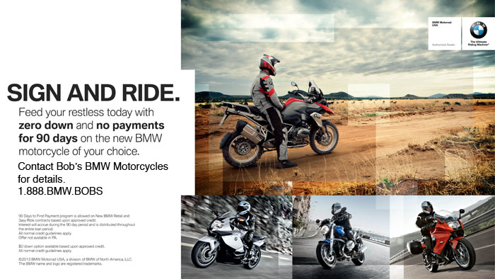 BMW sign and ride savings at Bob's BMW Motorcycles