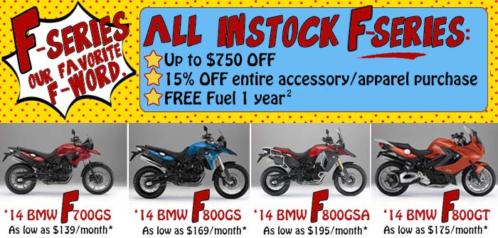 Sale on BMW F Series motorcycles