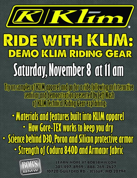 Ride with KLIM this Saturday, November 8th at Bob's BMW.