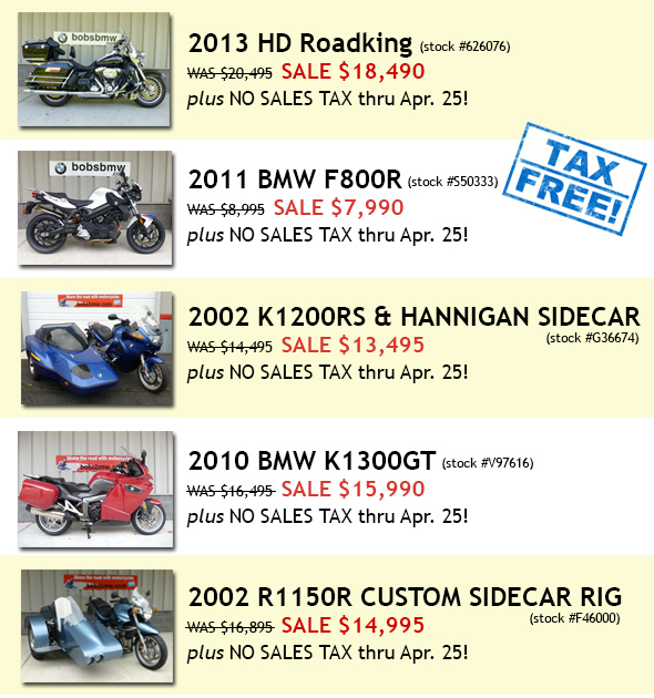 Tax free motorcycles