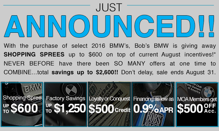 Just announced deals on 2016 BMW motorcycles